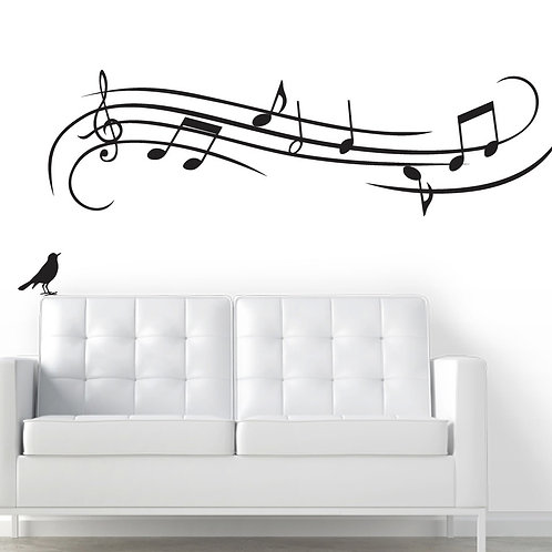 "60""x 17"" Bird with Musical Notes - Wall Decal - Deco Art Sticker Mural"