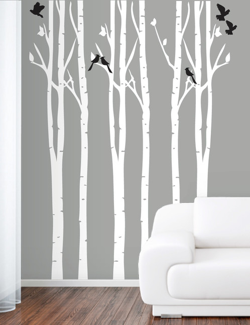 Forest Wall Decals Birch Tree And Birds Wall Decal