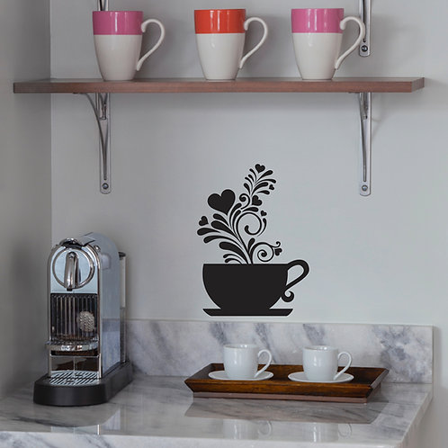 Coffee Cup Wall Decal Art Sticker Kitchen Decor