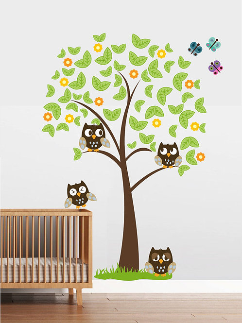 Tree with 4 owls Wall Decal Art Sticker Mural