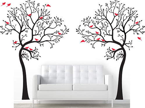 2x Large BIG Trees with 20 Birds Wall Decal Art