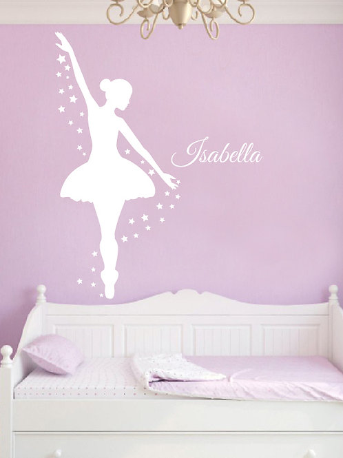 Ballerina Wall Decal, Dance Wall Decor, Personalized Decal, Girls Room Decor