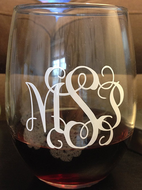 Monogram Stemless Wine Glass | Personalized 21oz Stemless Wine Glass