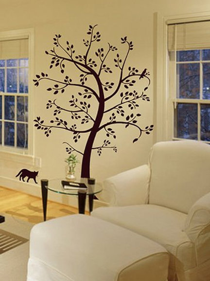 6Ft Tree with Cat and Bird Wall Decal