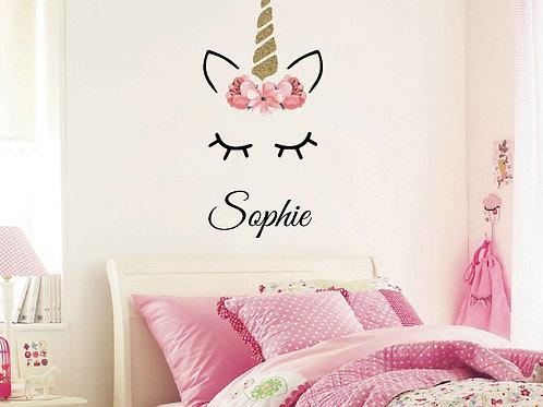 Sleeping Unicorn with Name Wall Decal