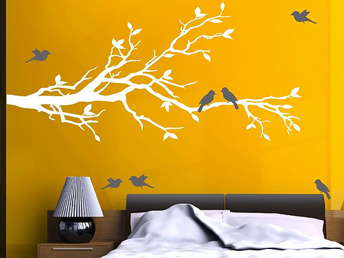 "78""x37"" Tree Branch in White with 10 Birds"
