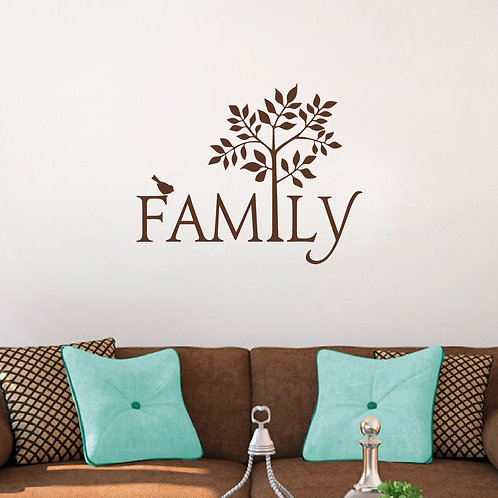 Family Wall Decal with Tree and Bird