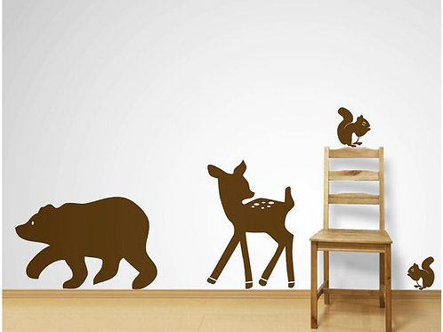 Bear, Deer and Squirrels Wall Decals