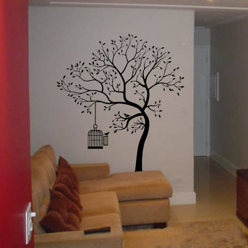 BIG Tree with Bird Cage Wall Decal