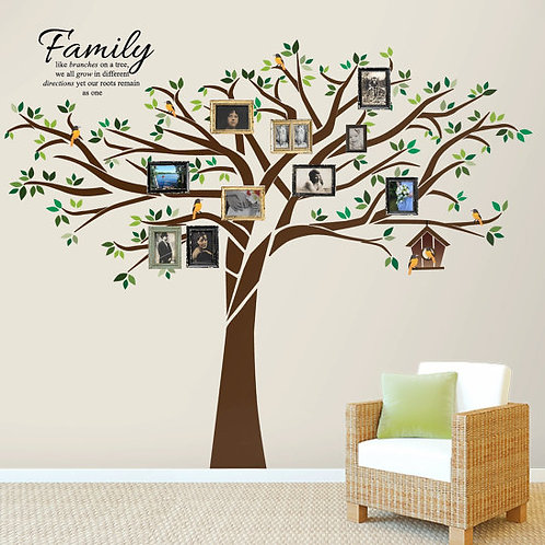 Family Tree Wall Decal 7.5 Ft. Tall x 10 Ft. Wide