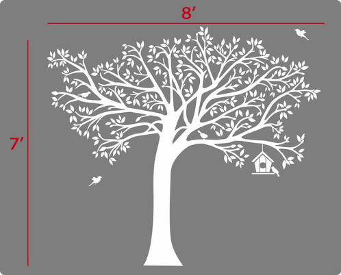 7 Ft. Tall X 8 Ft. Wide LARGE TREE Wall Decal +01 BIRD HOUSE +10 BIRDS Deco  Art Sticker Mural Size:7 Ft. Tall X 8 Ft. Wide OTHER SIZES And COLORS  AVAILABLE ...