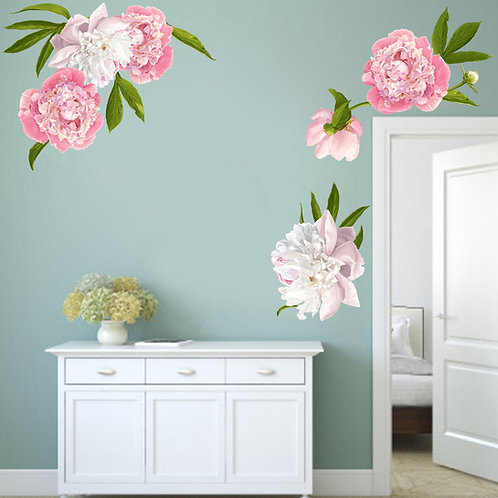 Large Peony Wall Decals - Floral Wall Decals - Peonies Decor