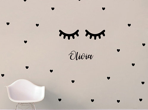Personalized Sleepy Eyes with Heart Decals Bedroom and Nursery Decor