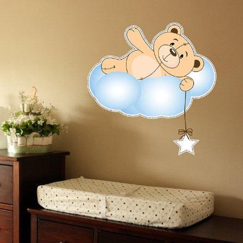 Cute Teddy Bear, Cloud and Star Nursery Wall Decal