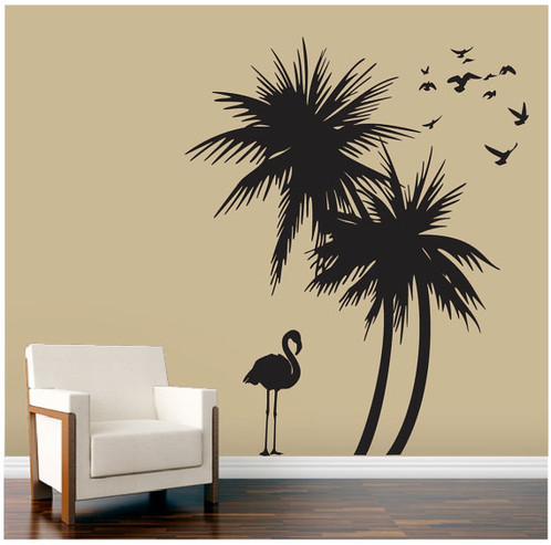 Palm Trees Wall Decal With Flamingo And Birds Deco Art Sticker Mural Self Adhesive Vinyl Removable Both Joined