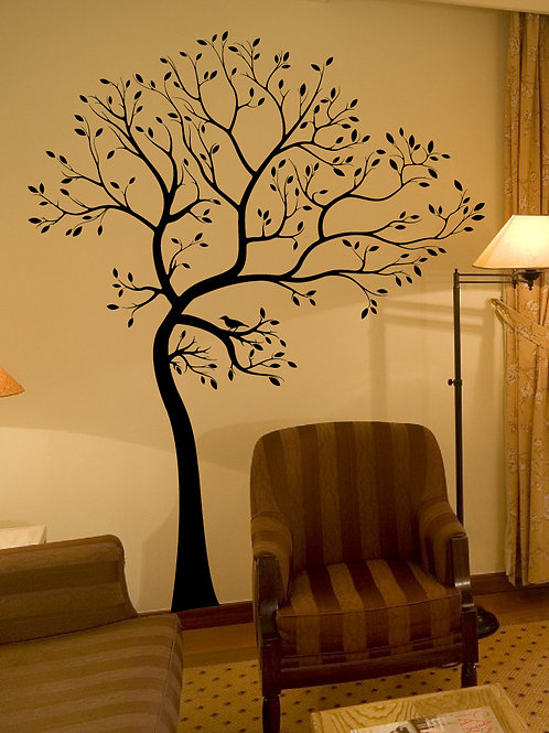 BIG Tree with Bird Wall Decal Deco Art Sticker Mur
