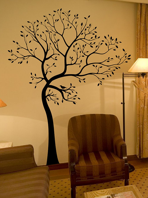 BIG Tree With Bird Wall Decal Deco Art Sticker Mur