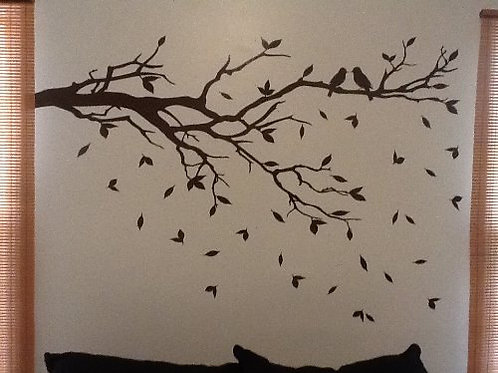 Tree Branch with 10 birds Wall Decals Sticker