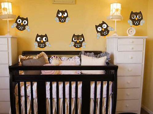 6 cute Owls Wall Decal Deco Art Sticker