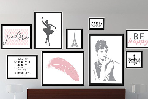 Posters Wall Art, Feminine Gallery Print, Set of 9, Frames Not Included
