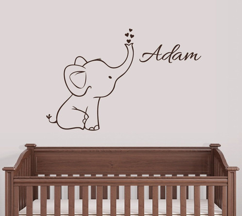 Personalized Elephant Wall Decal Nursery Decor Digiflare - Wall decals nursery