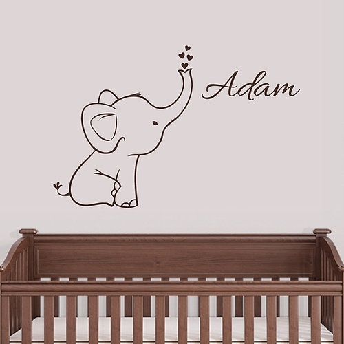 Personalized Elephant Wall Decal Nursery Decor Part 43