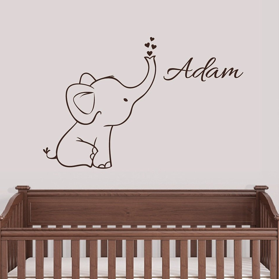 Personalized Elephant Wall Decal Nursery Decor Elephant Size: 26.7 Inches  Tall X 23 Inches Wide Name Size: 5.5 Inches Tall Other Sizes Available Upon  ...