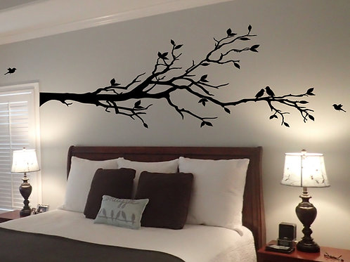 EXTRA LARGE Tree Branch with 10 Birds Wall Decal