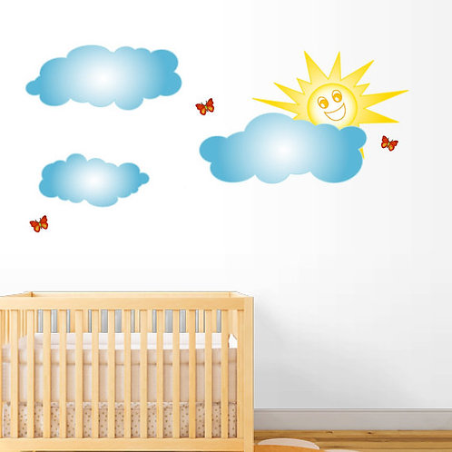 Clouds and Sun Wall Decals Beautiful Deco Mural