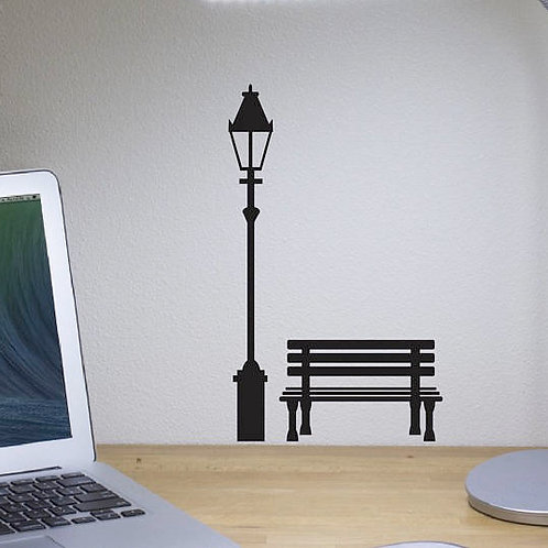 Bench and Street Light Wall Decals