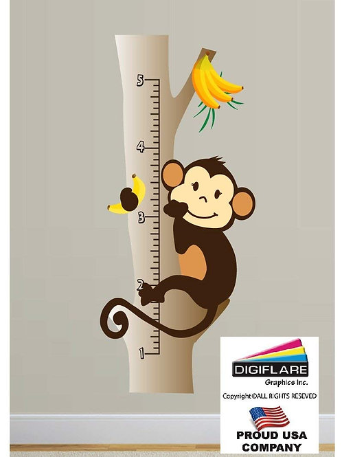 Monkey Growth Chart Wall Decal
