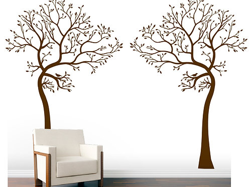 2x 7.5Ft. BIG Trees with Birds Wall Decals