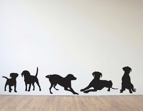 5 Dogs Wall Decals In Life Size!