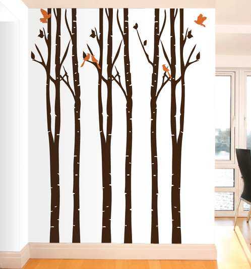 Forest Wall Decals   Birch Tree With Birds Wall Sticker You Can Customize  The Colors For Your Decals! Set Includes 6 Trees, 10 Birds And Extra Leaves  Size: ...