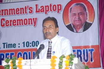 On the occasion of lap top distribution Dr. F.Rehman, Principal Faiz-E-Aam Degree Colleg