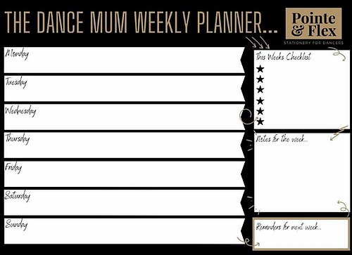 The Dance Mum Weekly A4 Planner