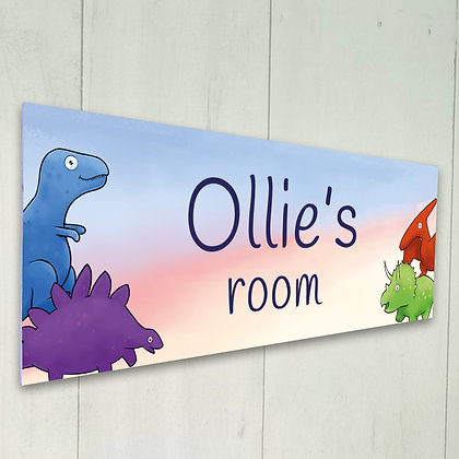Personalised Room Sign - Ollie Discovers the Dinosaurs
