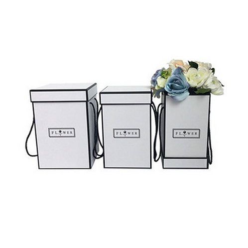 Square flower bouquet boxes with handle