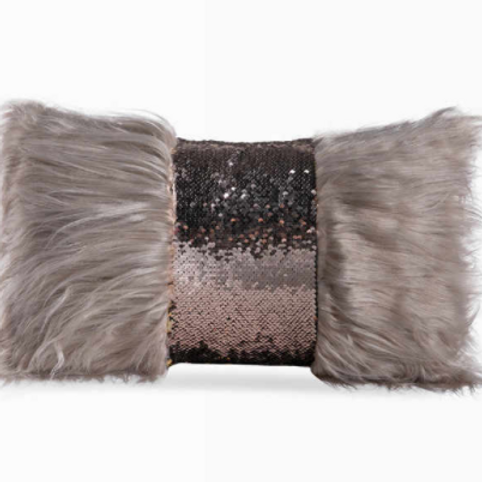Sequin Faux Fur Decorative Cushion