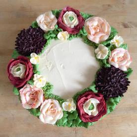 Autumnal Buttercream Flower Cake
