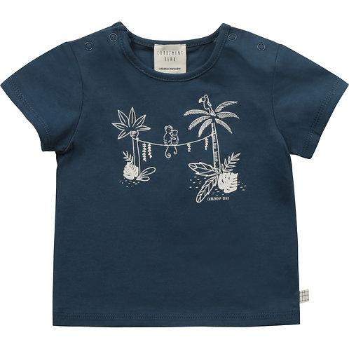 Haut bleu à manches courtes à motif de palmiers et de singes - Carrément beau