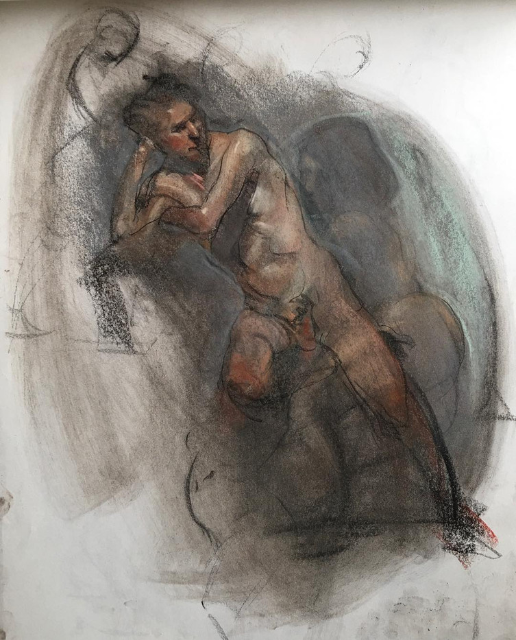 pastel figure drawing by Ron Brown