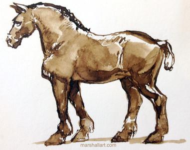 Horse_Ink sketch by Marshall Vandruff