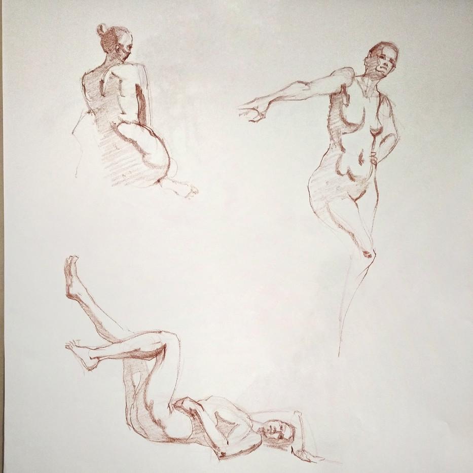 Red chalk drawings by Carolin Peters