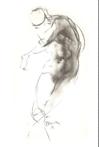 charcoal medium length pose by Ron Brown