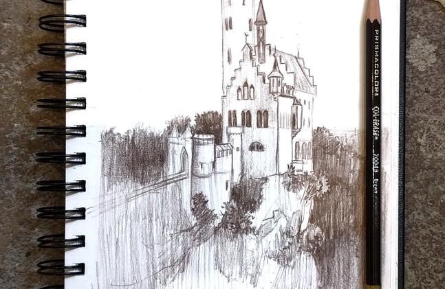 Castle sketch in colored pencil