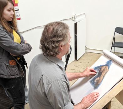 Ron demoing his pastel method