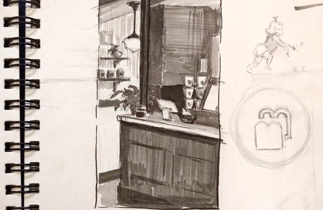 Interior Coffee Shop Sketch