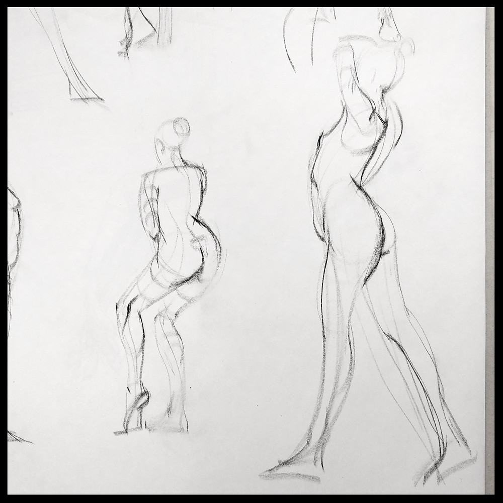 Gesture figure drawing charcoal