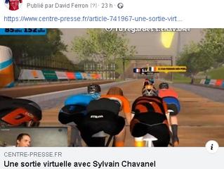 Une sortie virtuelle avec Sylvain Chavanel. Article Centre Presse.